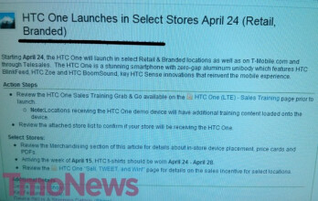 This leaked internal memo says that T-Mobile will launch the HTC One on April 24th