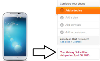 The Samsung Galaxy S4 launches April 30th on AT&T