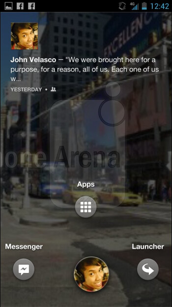 A circular sized image of our Facebook profile photo is shown beneath the bottom portion of the Facebook Home UI
