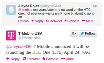This tweet confirms that the HTC One will launch via T-Mobile on April 24