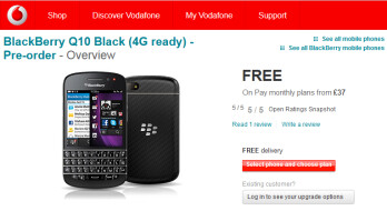 Vodafone is expected to ship the BlackBerry Q10 on April 26th