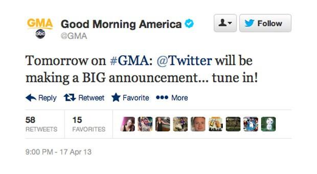 Good Morning America Tomorrow : Twitter announcing something quot big on good morning america