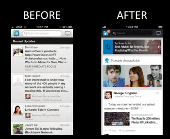 The update brings a more colorful look to LinkedIn