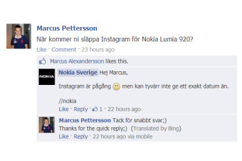 Nokia Sweden says Instagram for Windows Phone is coming soon