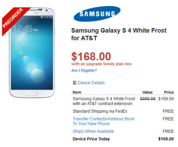 Walmart is offering the AT&T version of the Samsung Galaxy S4 for $168 on contract