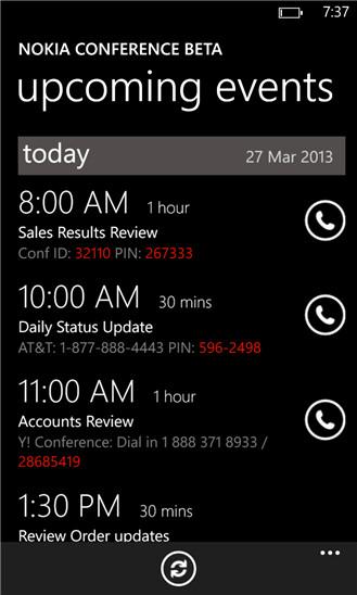 Screenshots from Nokia Conversations