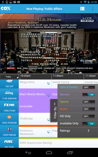 Screenshots from Cox TV Connect for Android