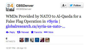Hackers compromised some Twitter accounts belonging to CBS and its affiliates