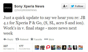 Android Jelly Bean update might roll this week for the Sony Xperia P, Go, S, SL, acro S and ion