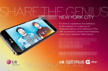 The invitation to the LG Optimus G Pro event May 1st in New York City