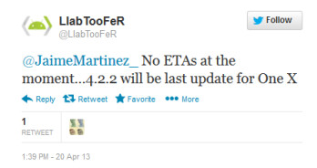 This tweet from an alleged HTC Insider says that the HTC One X will not be getting Android 5.0