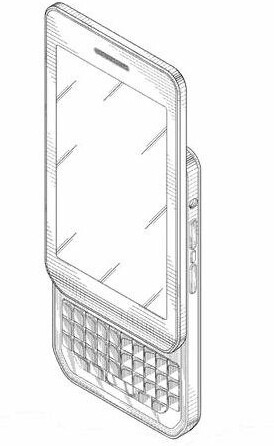 A BlackBerry Torch like phone is pictured on the patent application