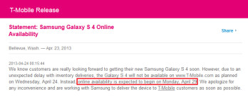 T-Mobile is delaying the online launch of its Samsung Galaxy S4