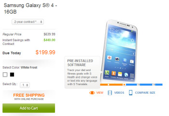 AT&T has the Samsung Galaxy S4 at its stores or online