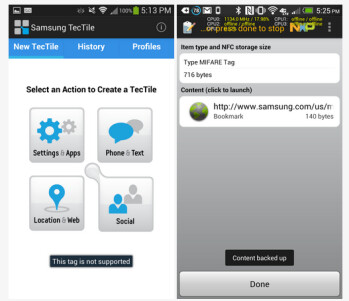 If you get the first screen on your Samsung Galaxy S4, it means you need the new TecTiles 2
