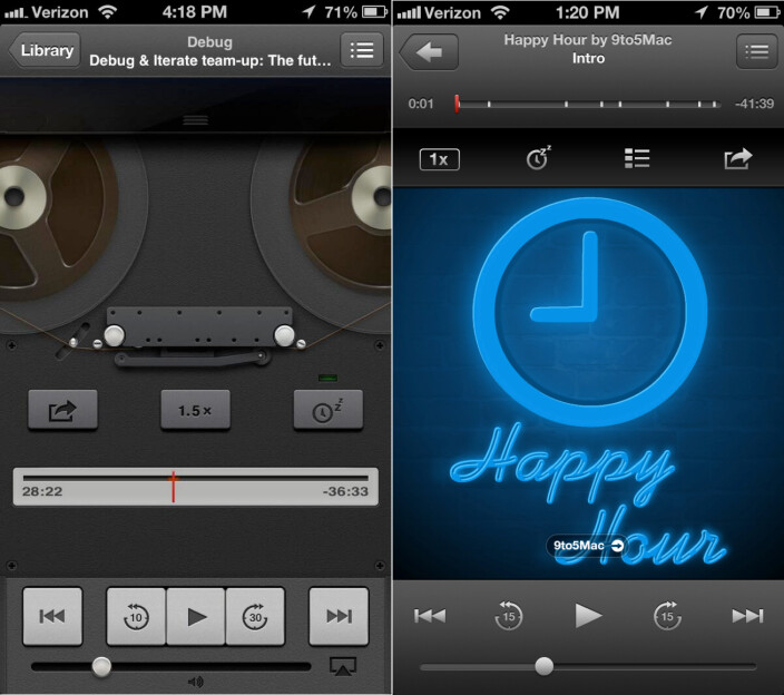 The old (L) and new look of the iOS podcast application - Apple's iOS 7 said to be as flat as Windows Phone, with a lack of gloss and shine