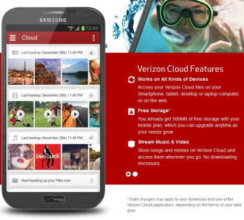 Verizon Cloud offers up to 125GB of storage, first 500MB free