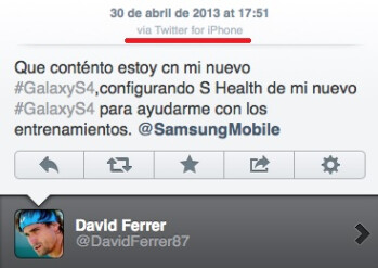 Tennis star David Ferrer tweets his love for Samsung Galaxy S4 from his iPhone