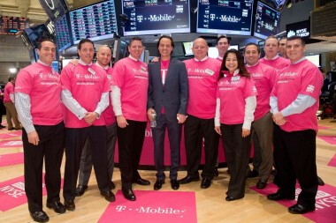 T-Mobile CEO John Legere andcrew on the NYSE floor - MetroPCS customers to get T-Mobile devices; T-Mobile now trades on the NYSE