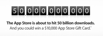 Apple is counting down toward the 50 billionth downloaded app