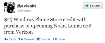 Evleaks spreads the rumor about the $25 Windows Phone Store credit