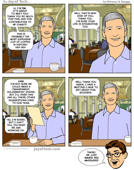 Coffee with Tim Cook - Comic shows what a $600,000 cup of coffee with Tim Cook would be like