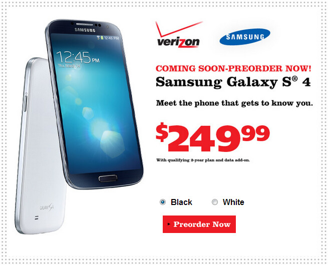 Pre-order the Verizon variant of the Samsung Galaxy S4 from Radio Shack - Radio Shack now taking pre-orders for the Verizon variant of the Samsung Galaxy S4