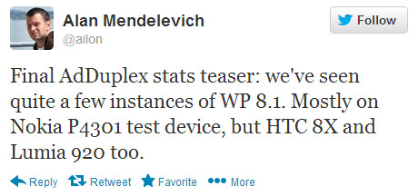 This tweet says that Windows Phone 8.1 is showing up on the AdDuplex mobile ad network - Windows Phone 8.1 being tested, according to AdDuplex data