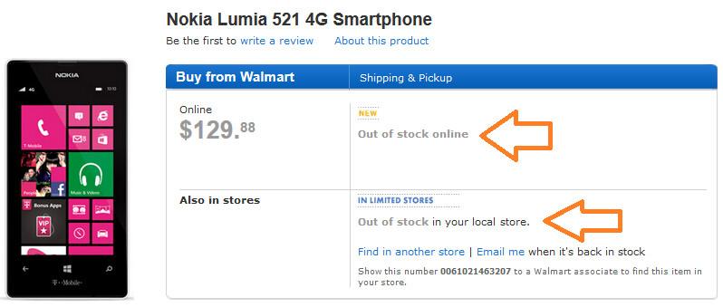 Walmart has already sold out the Nokia Lumia 521 - Nokia Lumia 521 sells out at Walmart, priced at $129.88