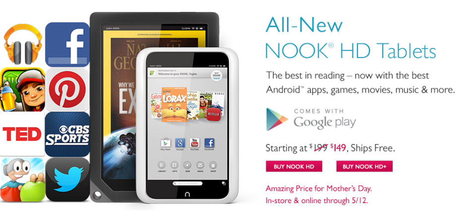 Barnes and Noble is slashing Nook HD and HD+ prices for Momma - Barnes and Noble slashes prices on the Nook HD and Nook HD+ for one week