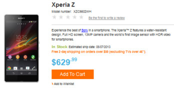 The Sony Xperia Z is now available from Sony's U.S. online store