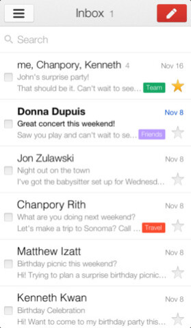 Screenshots from Gmail for the Apple iPhone