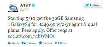 AT&T tweets about the 32GB variant of the Samsung Galaxy S4