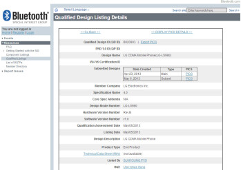 LG LS980 receives Bluetooth certification