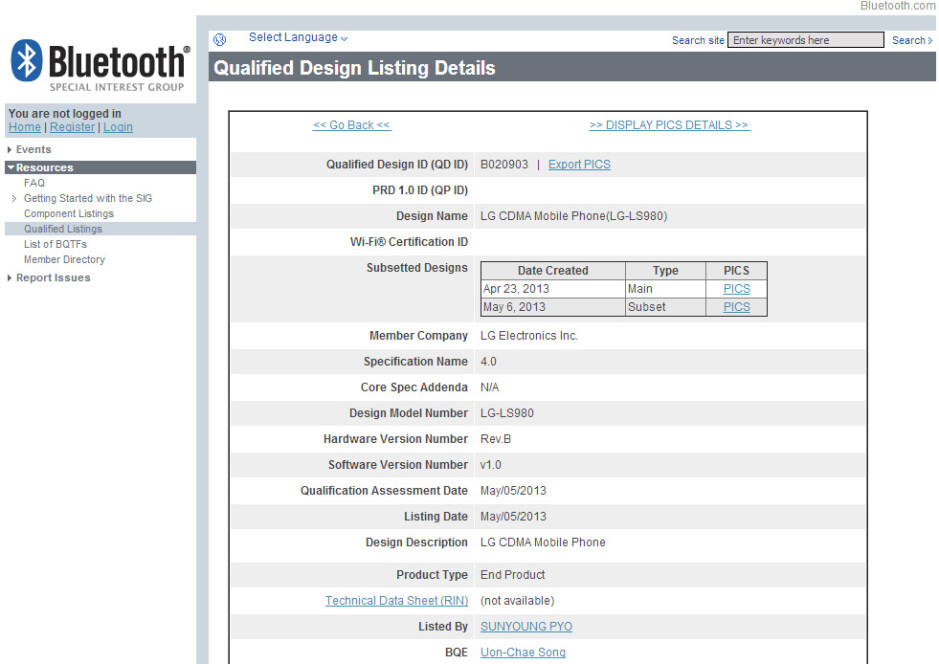 LG LS980 receives Bluetooth certification - LG LS980 may be the LG Optimus G2, headed to Sprint