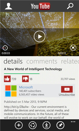 YouTube for Windows Phone gets updated to be a real app