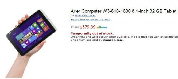 Amazon's listing for the Amazon W3-810 before it was pulled - Acer Russia confirms June 4th introduction of the Acer Iconia W3 8.1 inch Windows 8 tablet