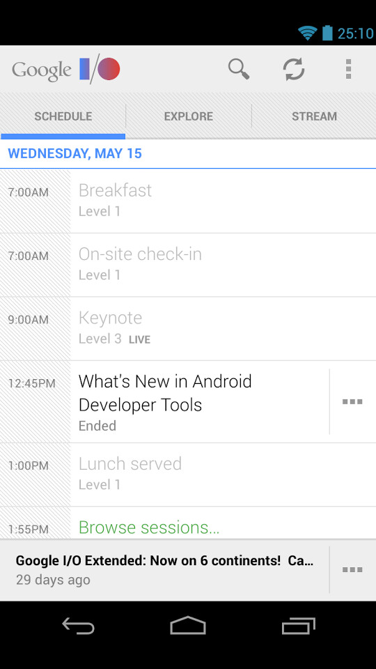 Screenshots from Google I/O 2013 - It's that time of the year: Google I/O 2013 app released