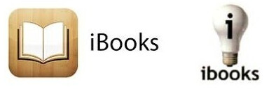 """Apple's iBooks logo (L) and the one used by BlackTower Press - Apple wins trademark battle over """"iBooks"""" name"""