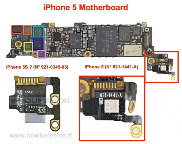 The camera component on the Apple iPhone 5S looks different than the one on the Apple iPhone 5 - Leaked motherboard for next Apple iPhone suggests change to camera design