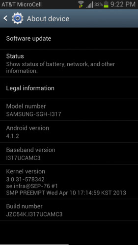 The latest update to the AT&T version of the Samsung GALAXY Note II leaves the device at Android 4.1.2