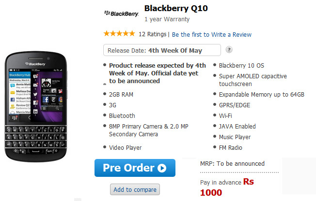 The BlackBerry Q10 can now be pre-ordered in India - BlackBerry Q10 pre-orders begin in India, launch expected near the end of May