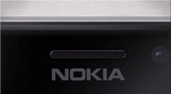 Part of what is believed to be the Nokia Lumia 925 as displayed by Nokia USA