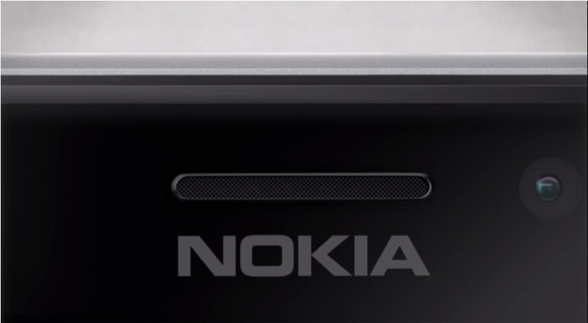 """Part of what is believed to be the Nokia Lumia 925 as displayed by Nokia USA - Nokia USA shows image of the Nokia Lumia 925; says the latest Lumia will """"steel"""" the show"""