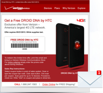 Through May 21st, you can score a free HTC DROID DNA from Verizon