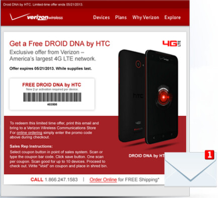 Through May 21st, you can score a free HTC DROID DNA from Verizon - Verizon offering HTC DROID DNA for free through May 21st