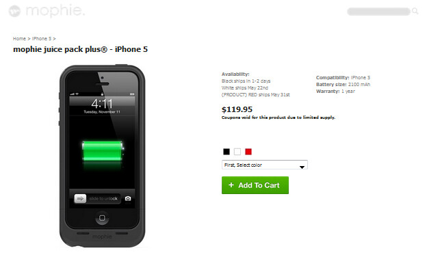 The Mophie Juice Pack Plus for the Apple iPhone 5 - Third Mophie Juice Pack for the Apple iPhone 5 offers users 120% more battery life