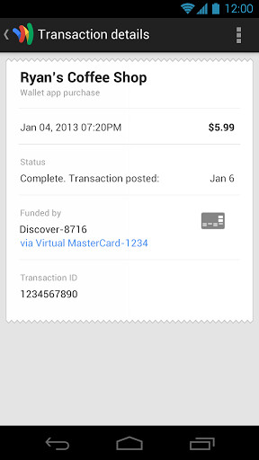 Screenshots from Google Wallet - Sprint's HTC One, Samsung Galaxy S4 and Samsung GALAXY Note II get Google Wallet