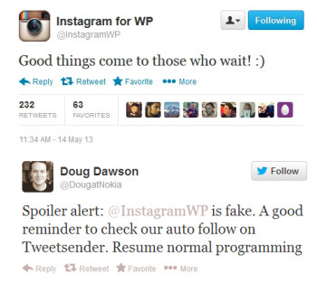 Nokia (on bottom) says that @InstagramWP is a fake