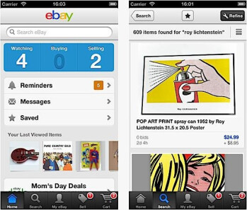 Screenshots from the updated eBay app for iOS